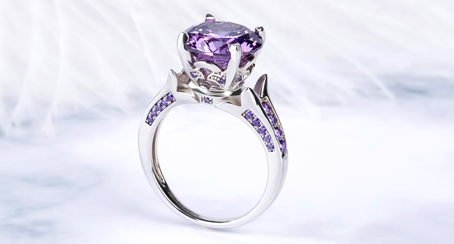 AMETHYST FLOWER ROUND CUT RING