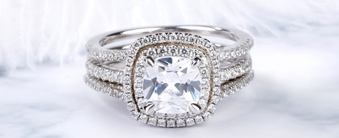 DOUBLE HALO CUSHION CUT RING SET